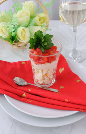 shota: Salad from eggs and tomatoes in a  Stock Photo