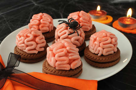 marzipan: Funny cookie with brains of marzipan on Halloween