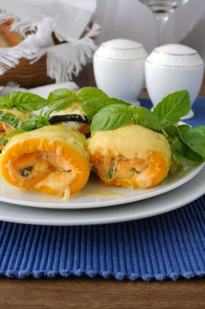 Zucchini rolls stuffed with spinach and cheese Stock Photo - 18261033