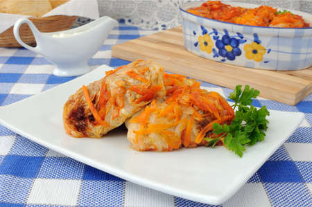 Stuffed cabbage stewed in tomato gravy with onions and carrots Stock Photo - 18727155