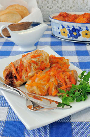 Stuffed cabbage stewed in tomato gravy with onions and carrots on a platter Stock Photo - 18727166