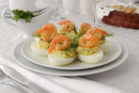 eggs stuffed with spicy stuffing with grilled shrimp Stock Photo - 19196987