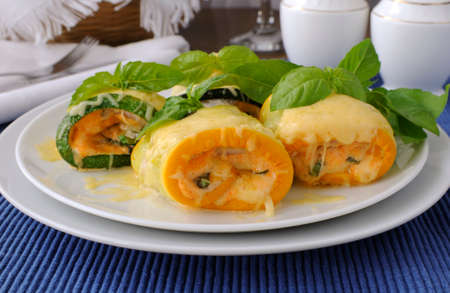 Zucchini rolls stuffed with spinach and cheese   photo