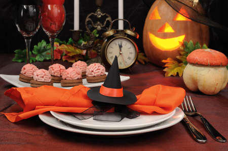 Napkin decorated with witches hat in honor of Halloween