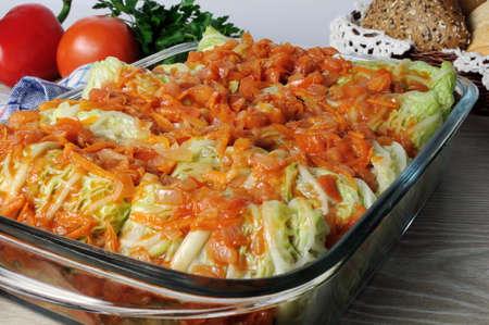 savoy cabbage: stuffed savoy cabbage under onion-carrot gravy Stock Photo