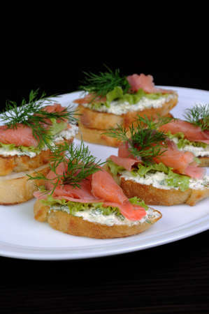 collation: Sandwich with ricotta, pickled ginger and a slice of salted salmon