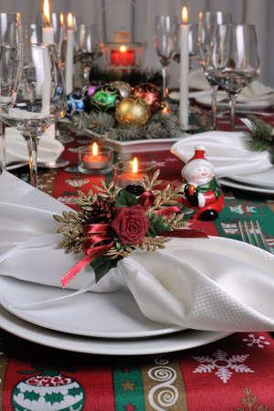 napkin ring: Decorative folded napkin on the Christmas table