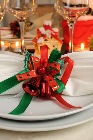 napkin ring: Festive napkin on the Christmas table