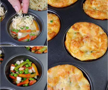 muffin: phased recipe egg-cheese muffins with vegetables