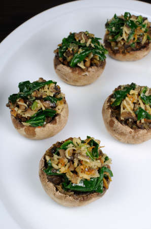 stuffing: champignons  with vegetable stuffing  spinach and parmesan