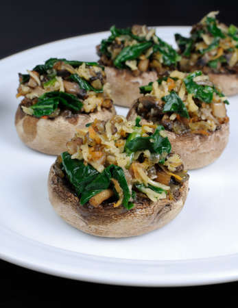 champignons: champignons  with vegetable stuffing  spinach and parmesan