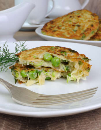 elevenses: Vegetable fritters of zucchini with peas and herbs