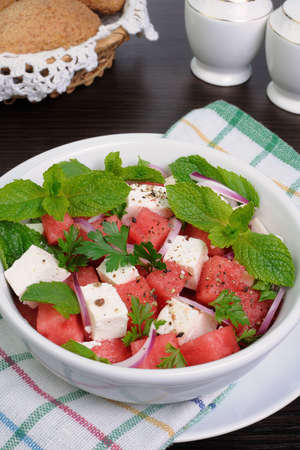 elevenses: Healthy Fresh Organic Watermelon Salad with Mint and feta cheese