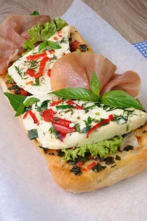 jamon: Sandwich with mozzarella and jamon on ciabatta