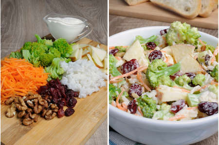 lunch hour: Salad of broccoli, carrots, apples, rice, cranberries and walnuts dressed with yogurt