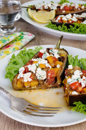 lunch hour: Stuffed eggplant with ricotta and vegetables in lettuce