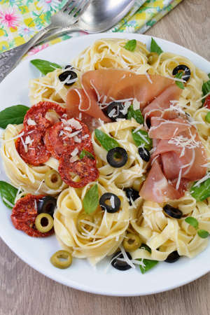 elevenses: Pasta with gammon, olives, sun-dried tomatoes and parmesan