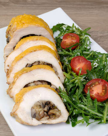 elevenses: Chicken fillet stuffed with mushrooms on the cheese crust
