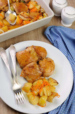 lunch hour: Fried chicken haunch  with boiled potatoes and carrots on a plate