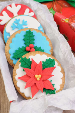 elevenses: cookies decorated with marzipan on the Christmas theme