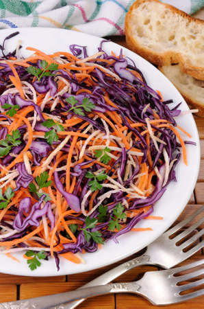 lunch hour: Coleslaw salad of red cabbage with carrots, Celery root