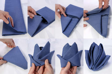 Step by step instructions on how to fold a napkin in the form of a rose bud