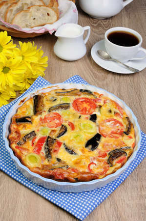 nosh: Omelette eggplant, leek, tomatoes and pepper with cheese