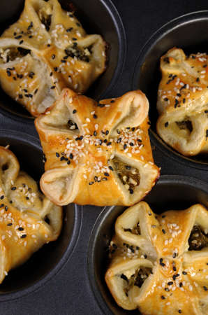 lunch hour: Puff pastry with spinach and ricotta in a pan top view Stock Photo