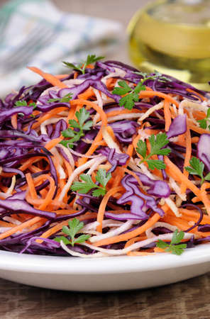 celery root: Coleslaw salad of red cabbage with carrots, Celery root