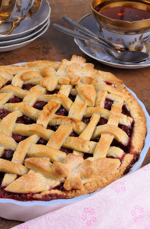 cherry pie: cherry pie dough with decorative ornaments