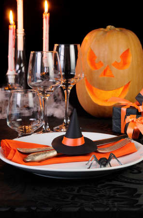 Witchu0027s Hat As A Decor Element Halloween Table Setting Stock Photo, Picture  And Royalty Free Image. Image 61920474.