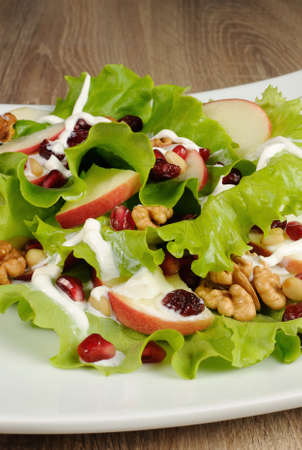 Salad of apples, cranberries , pomegranate, pine nuts and walnuts dressed with yogurt