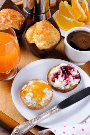 morsel: Breakfast of bun with ricotta orange and cherry jam