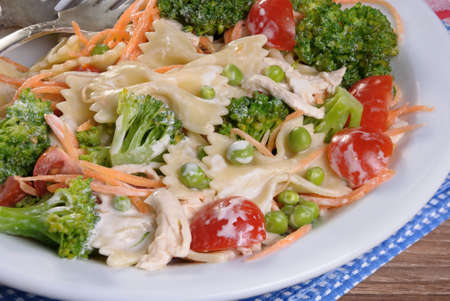 ration: pasta salad with chicken, tomatoes, broccoli, green peas, carrots dressed with sour cream Stock Photo