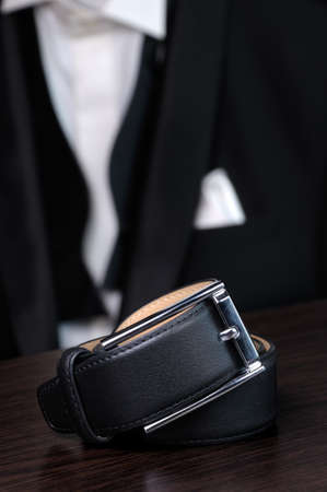 mens fashion: Mens leather belt mens fashion as a style element Stock Photo