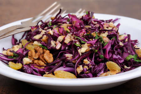 ration: salad red coleslaw with raisins and crushed walnut
