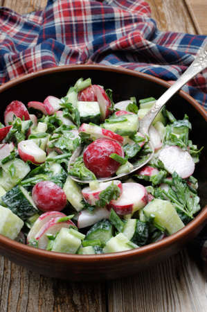 oneself: Salad with pieces of radish and cucumber, herbs and green onions, dressed  yogurt. Vertically shot. Stock Photo