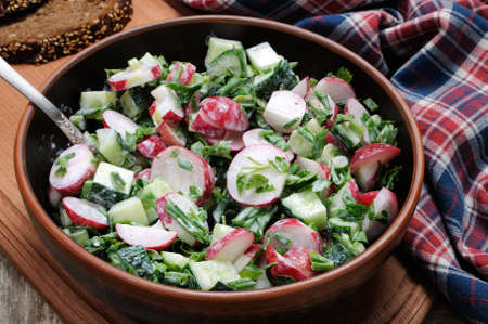oneself: Salad with pieces of radish and cucumber, herbs and green onions, dressed yogurt. Horizontal shot.View from above. Stock Photo