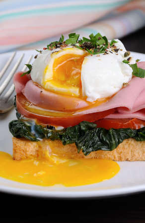 Poached eggs on toast with tomato, ham, spinach, spices and herbs Stock Photo - 81510835