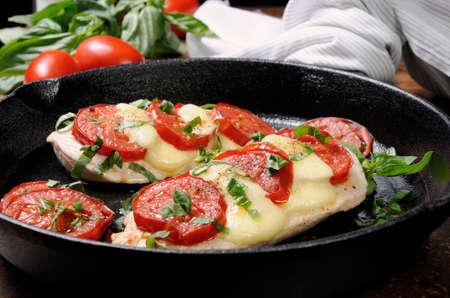 Langet from chicken breast with tomato and mozzarella. A-la caprese. Standard-Bild