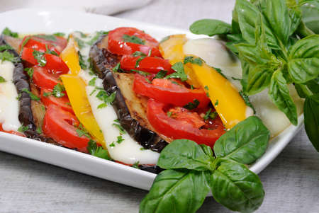 Baked eggplants with tomatoes, yellow pepper and slices  mozzarella