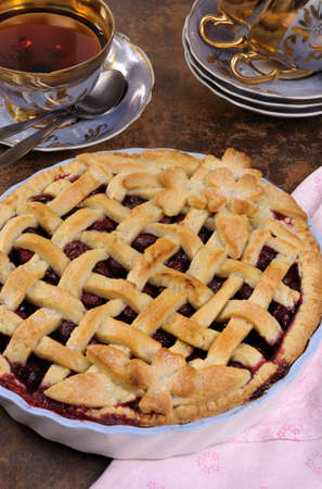cherry pie dough with decorative ornaments