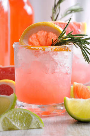 This magnificent cocktail of fresh pink Palomas will change the way you look at tequila. A festive drink is ideal for brunch, parties and holidays. Stock Photo