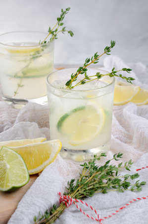 cocktail on the basis of gin, lemon juice or lime juice and notes of thyme. Pamper yourself with a refreshing cocktail on a summer day.