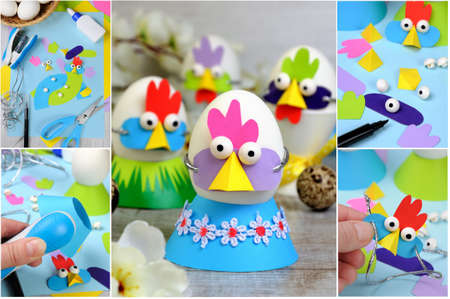A step-by-step instruction on how to make a hen and cock mask from colored cardboard for an egg. A fun idea of handmade for a child.