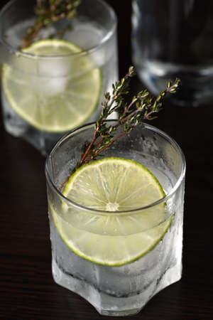 Gin and tonic with a slice of lime and sprigs of thyme
