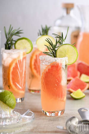 Cocktail fresh lime and rosemary combined with fresh grapefruit juice and tequila