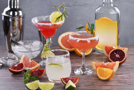 Drinks and cocktails with Tequila-based different citrus fruits Stock Photo