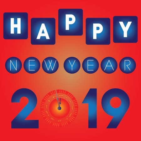 Happy New Year 2019 Illusztráció