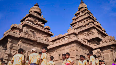 Shore temple a popular tourist destination and UNESCO world heritage build by The King Pallava at Mahabalipuram, Tamil Nadu, South India Redakční